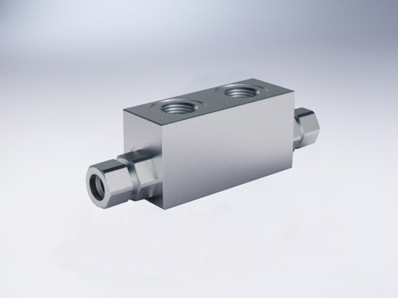 Pilot type double check valve for 12mm articulated mounting